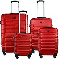 Set Maleta Viaje Rigidas Resistente Kit Colores Modelos Varios (Rayas Horizontales, Rojo)