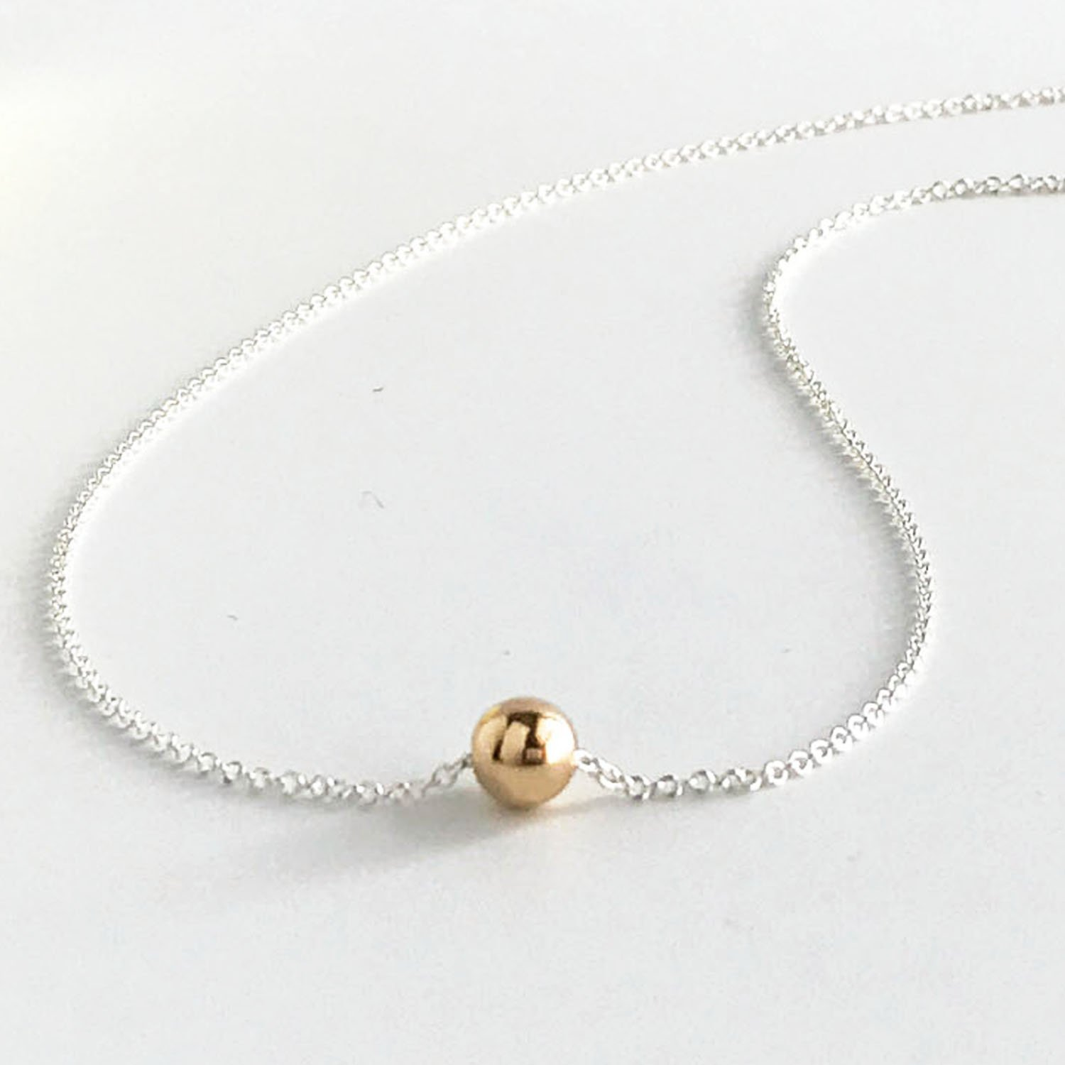Silver and Gold Tiny Ball Necklace - Mixed Metal Choker
