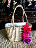 Handwoven Natural Straw Magenta Pom Pom Basket Tote Bag,
