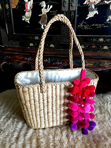 Handwoven Natural Straw Magenta Pom Pom Basket Tote Bag, by InfinityLoveCo