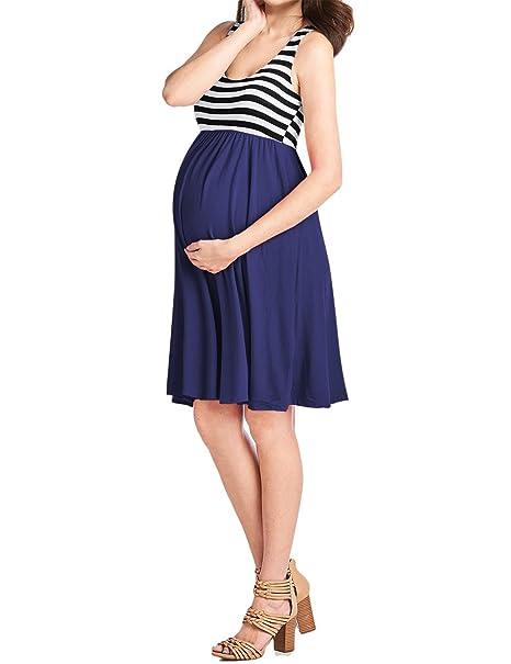 f341da6b2 KOJOOIN Mujer Elegante Vestido Cuello Redondo Embarazo Ropa premamá ...