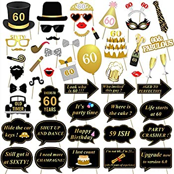 Konsait 60th Birthday Party Photo Booth Props 51Count For Her Him Gold