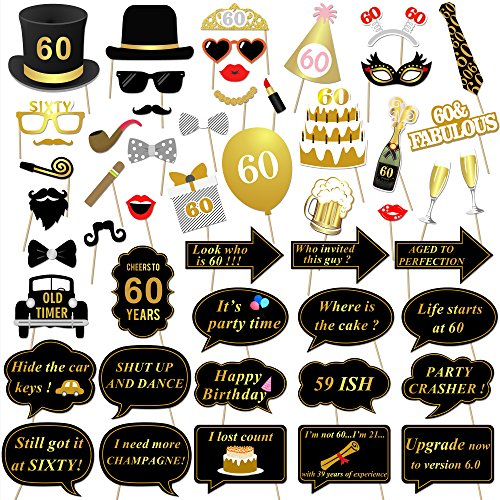 Konsait 60th Birthday Party Photo Booth Props (51Count) for Her Him 60th Birthday Gold and Black Decorations, Big 60 Birthday Party Supplies for Men and Women -