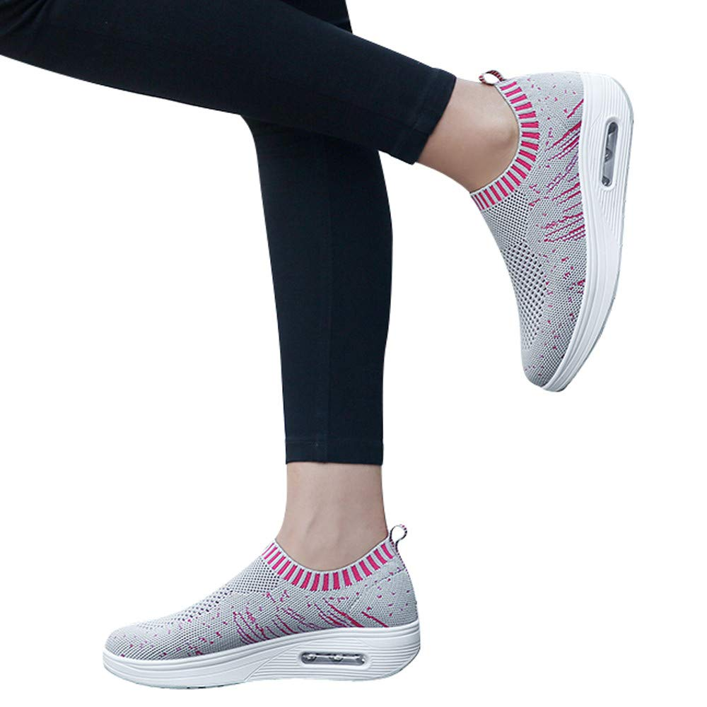 Women's Outdoor Mesh Sneakers Breathable Casual Sport Shoes Comfortable Walking Shoes (Gray, US:7.5)