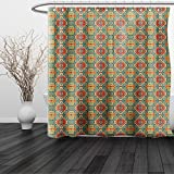HAIXIA Shower Curtain Native American Ethnic Indigenous Art Drawing Tribal Folk Artistic Tile Tribal Turquoise and Orange