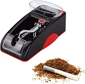 Portable Household Electric Cigarette Rolling Machine,Mini Automatic Injector Tobacco Roller Maker with Transparent Tobacco Hopper. (Red one)
