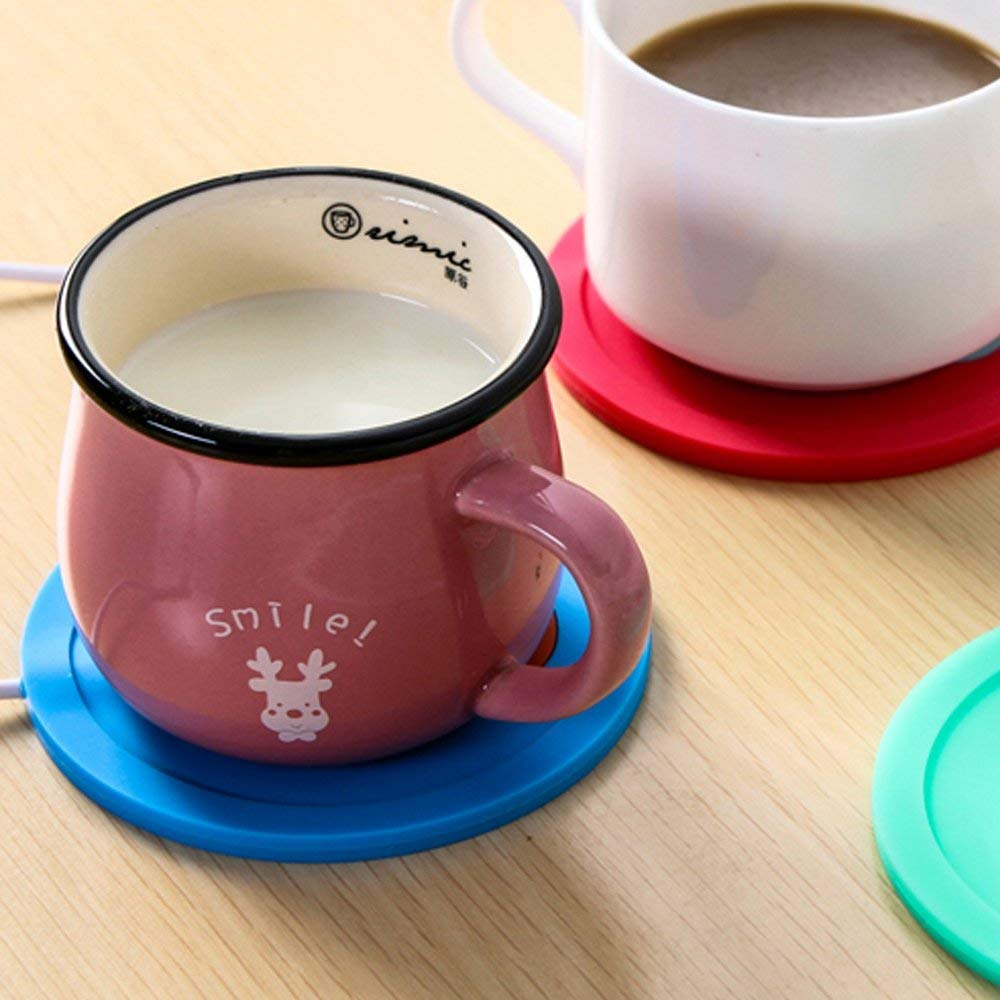USB Silicone Coffee Mug Warmer,Royal Characters,Double Sided,Office Desktop and Home Use,Electric Cup Beverage Warmer for Coffee,Tea,Water,Cocoa,Milk,Soup,Low Profile,Portable,Spill resistant (Blue)
