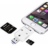 Micro SD Card Reader High Speed Lightning Micro SD Card/USB/SDHC/TF/OTG 5-in-1 Card Reader for iPhone iPad PC Android by Okapia(White)