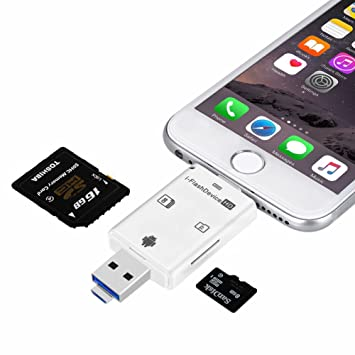 Adaptador con Lector para Tarjetas Externas de Memoria Flash de Alta Velocidad USB a Micro SD Tarjeta/USB/SDHC/TF/OTG 5 en 1, Valido para Phone, iPad, ...