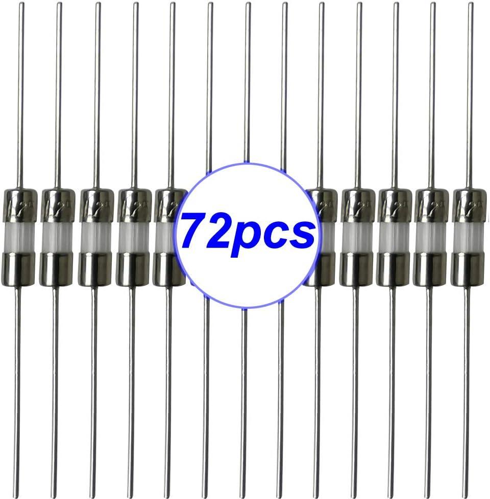 Gebildet 72 pcs 3.6 /× 10 mm Fast-Blow Glass Tube Fuse, Quick Blow Car Glass Tube Fuses Assorted Kit 0.5A//1A//1.5A//2A//3A//5A each 12pcs
