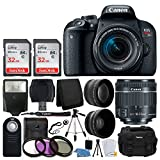 Canon EOS Rebel T7i Digital SLR Camera with EF-S 18-55mm f/4-5.6 IS STM Lens + 58mm Wide Angle Lens + 2x Telephoto Lens + Flash + 64GB SDHC Memory Card + UV Filter Kit + Tripod – Full Accessory Bundle For Sale