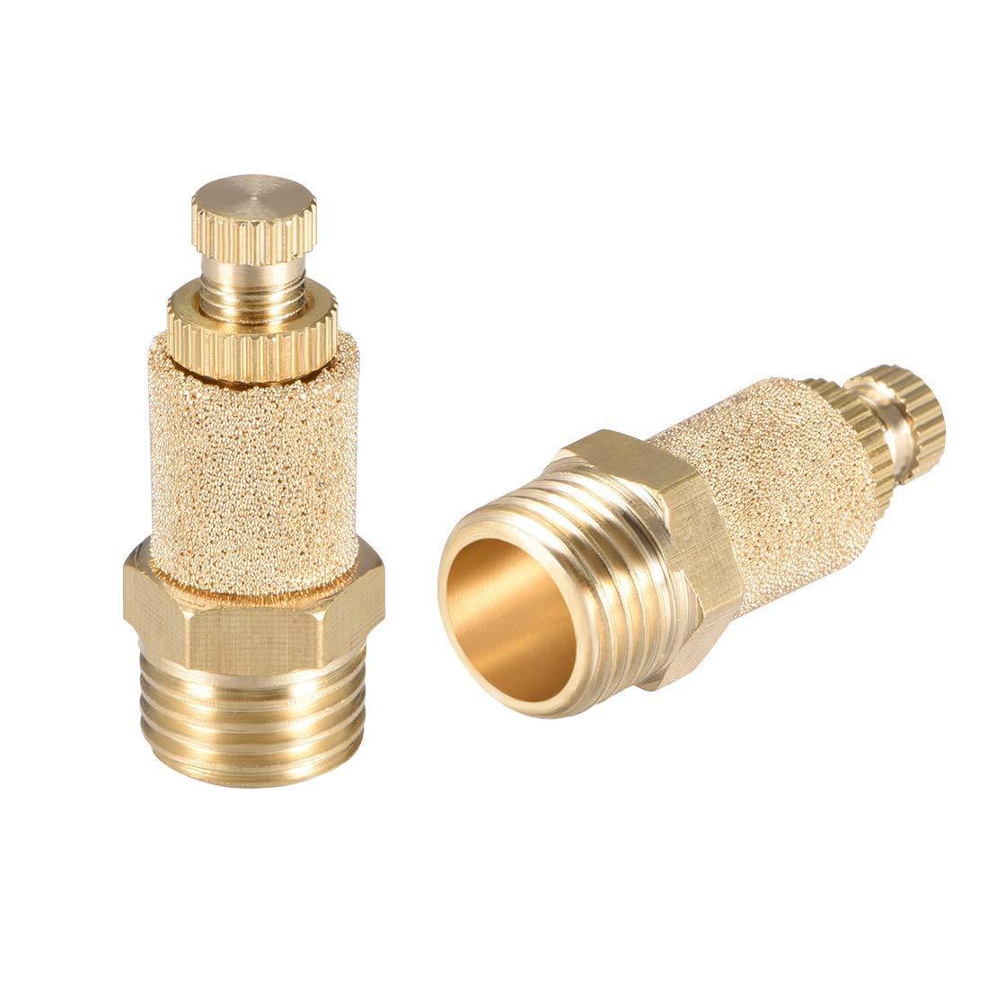 ZCHXD Brass Exhaust Muffler 1//4 G Male Thread 33//64 Hex Top Adjustable Sintered Air Pneumatic Bronze Muffler with Brass Body 2pcs