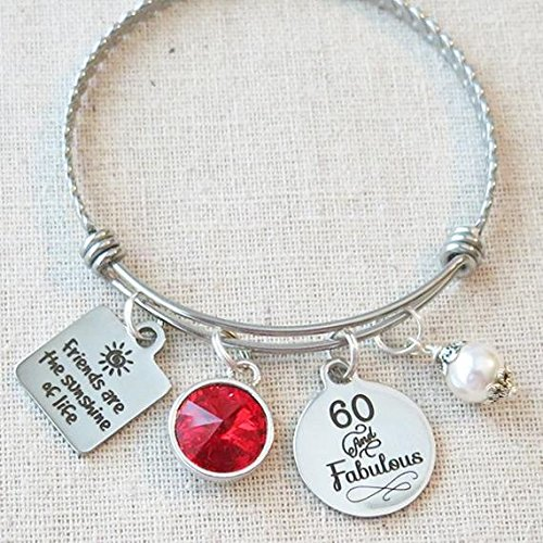 60th BIRTHDAY Gift For Her Milestone Birthday Gifts Friend July Ruby 60 And