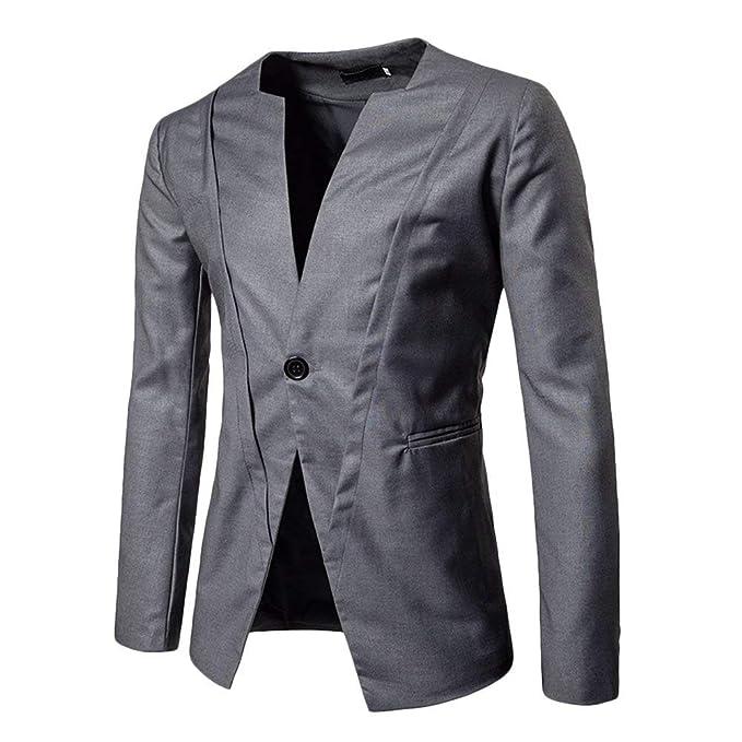 Blazer Hombres Elegante Negro Gris Slim Fit Negocios Oficina ...