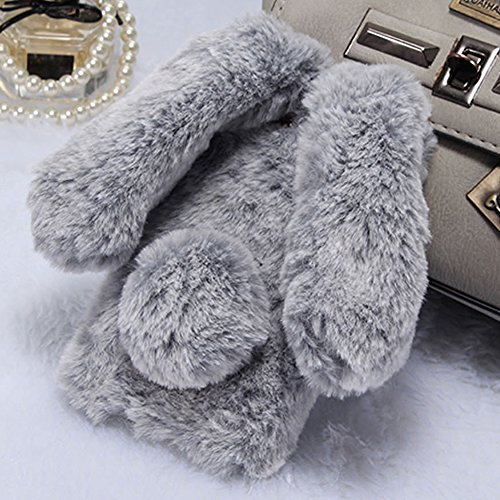 for Samsung Galaxy J3 2015/2016 Plush Case LAFUNDA Supper Cute Fluffy Bunny Ear Faux Rabbit Fur Case Furry Soft TPU Dual Back Cover Bumper with Chic Bling Crystal Diamond, Grey