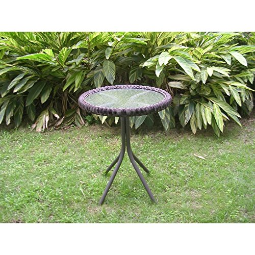 International Caravan 3186-TBL-AP-IC Furniture Piece Outdoor Resin Wicker and Glass-top Bistro Table
