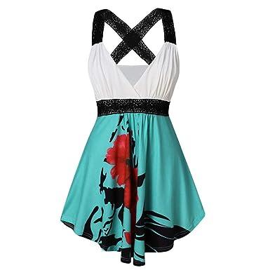 49d6660a0ed Women Midi Dress Casual V Neck Sleeveless Floral Print Cross Wrap Tank Top  Blouse at Amazon Women s Clothing store