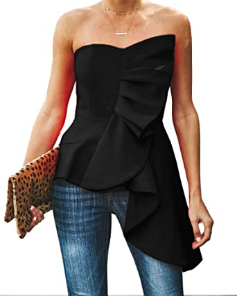 95f679ef68d Valphsio Womens Ruffle Party Blouse Strapless Asymmetrical Flare Peplum Top  Shirts Black