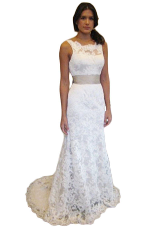 Mathena Women's Crew Neck V Back Detachable Belt Long Lace Bride Wedding Dress US 6 White