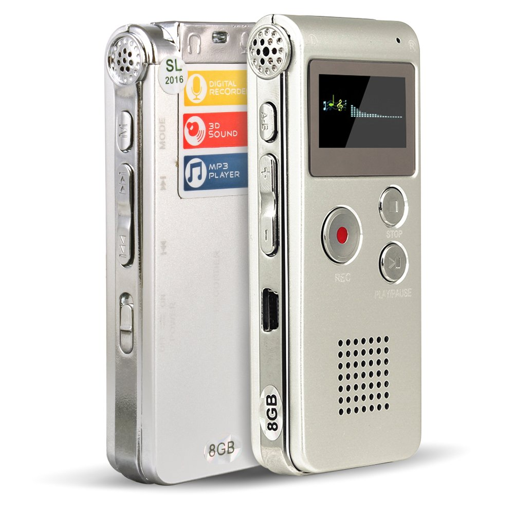 ACEE DEAL 8GB Digital Voice Recorder with Mini USB Port, Voice Activated, Rechargerable and Multifunctional MP3 Music Player & Dictaphone with Built-In Speaker, Including Earphones and Cables (Silver)