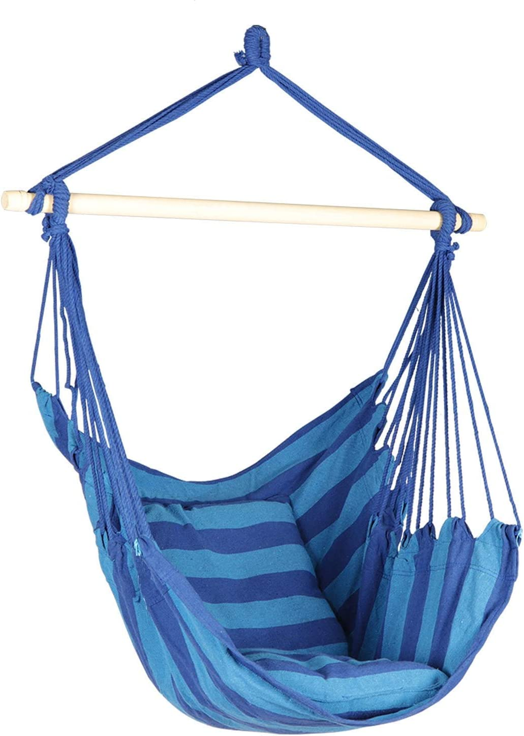 Bathonly Hanging Rope Hammock Chair, Hanging Swing Chair for Indoor and Outdoor- 2 Seat Cushions Included, Max.265 LBs Blue