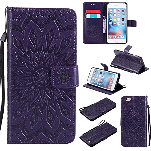 iPhone 6S Plus Wallet Case,A-slim(TM) Sun Pattern Embossed PU Leather Magnetic Flip Cover Card Holders & Hand Strap Wallet Purse Case for iPhone 6 Plus / 6S Plus [5.5 Inch] - Purple