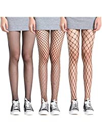 3 Pack Fishnet Stockings Hollow Stretchy Tights Seamless Sexy Net Pantyhose Women