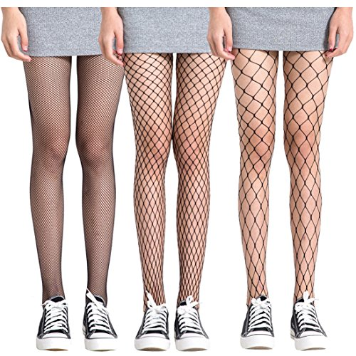 FAYBOX 3 Pack Fishnet Stockings Hollow Stretchy Tights Seamless Sexy Net Pantyhose Women (Net Design)