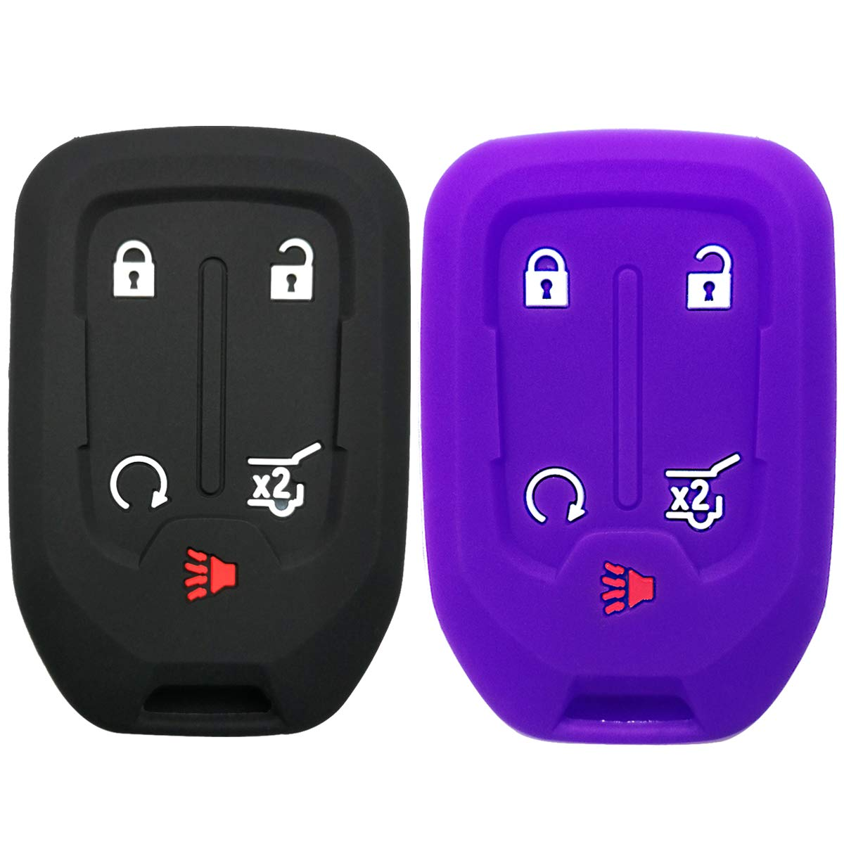 2Pcs Coolbestda Silicone Keyless Remote Entry Cover Accessories Protector Holder Case for GMC Acadia Terrain Yukon Chevrolet Suburban Tahoe HYQ1AA 13584502 1551A-AA