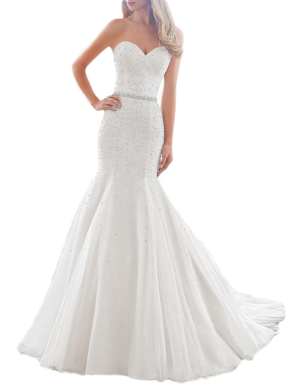 Oyisha Womens Spagetti Strap Mermaid Wedding Dress Pearl Train Bride