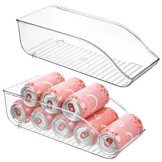 mDesign Juego de 2 cajas de almacenaje para frigorífico y armarios de cocina – Contenedores de plástico con capacidad para 9 latas cada uno – Práctico ...