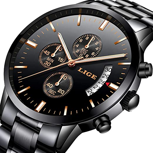 Reloj para Hombres Marca de Lujo LIGE Acero Inoxidable Reloj de Cuarzo analógico Moda de Negocios Impermeable Cronógrafo Reloj Negro Masculino: Amazon.es: ...