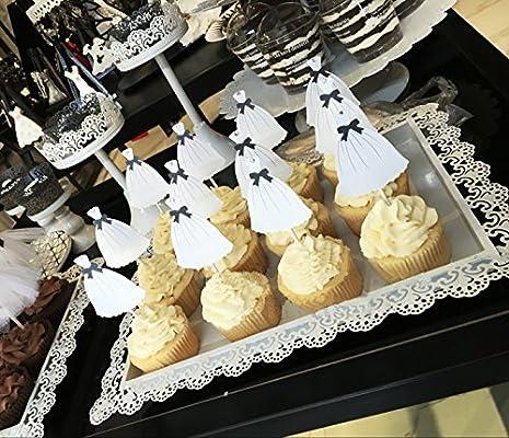 Vestido de novia boda diseño de cupcakes, Cupcake Toppers, para boda compromiso novia ducha partido insignias para decoración de tartas, color blanco y negro, pack de 12: Amazon.es: Hogar