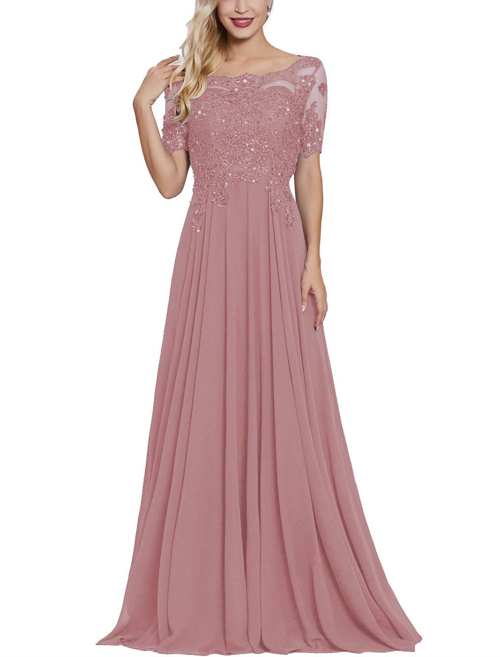 Mother of The Bride Dresses Lace Formal Gowns Long Evening Dresses Short Sleeve
