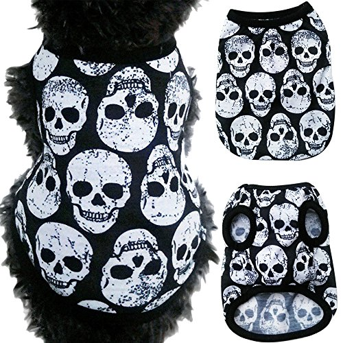 Axchongery Dog Vest, Cool Skull Pet T-Shirt Soft Puppy Costumes Small Dog Clothes Apparel (White, XXS) Jersey Sporting Dogs