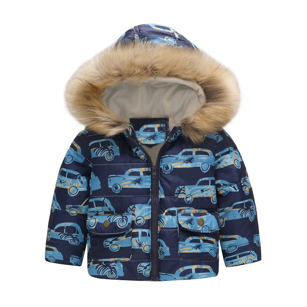 WARMSHOP Toddler Boys Girls Hooded Coat,2018 Winter Warm Cartoon Car Print Fur Collar Hooded Zipper Pocket Jacket Outwear