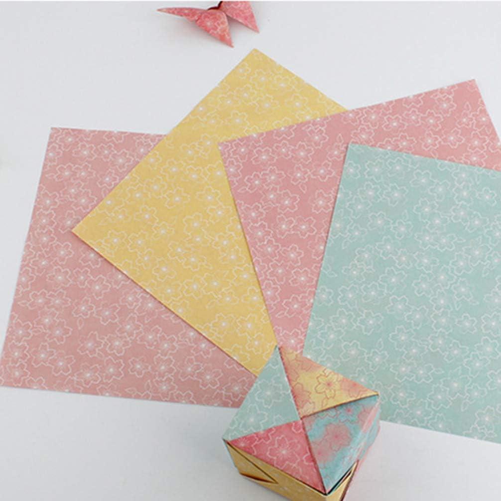 STOBOK Origami Square Paper Flower Pattern Origami Crane Paper DIY Craft Folding Paper Assorted Decorative Making Paper