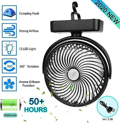 Ventilador USB, Ventilador de Mesa pequeña silencioso (5000mA), Ventilador a Bateria Recargable, Mini Ventilador portátil para Oficina, hogar,Camping Ventilator con LED y Gancho: Amazon.es: Electrónica