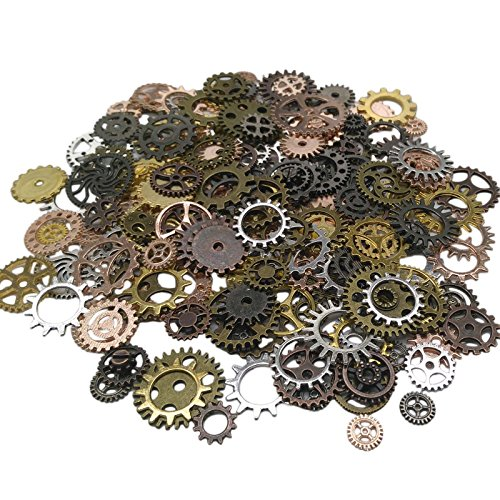 200 Gram (Approx 170pcs) DIY Assorted Color Antique Metal Steampunk Gears Charms Pendant Clock Watch Wheel Gear for Crafting, Cosplay Halloween Decoration,Jewelry Making Accessory