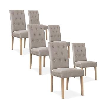 INTENSEDECO Lot de 6 chaises capitonnées Gaya Tissu Beige  Amazon.fr ... cc3b13820ec5