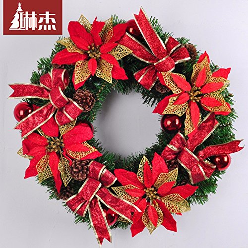 Christmas Garland for Stairs fireplaces Christmas Garland Decoration Xmas Festive Wreath Garland with 50CM Red Christmas Wreath Christmas by Caribou Furniture And Decor
