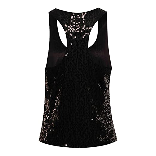 75468d0d FimKaul Women's Sleeveless Sparkle Shimmer Camisole Sexy Bling Vest Sequin  Tank Tops at Amazon Women's Clothing store: