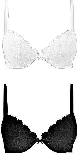 Reggiseno cotonella confezione da 2 pezzi (bianco e nero) -daniela push up in coppa b. preformato in morbido 01 2048