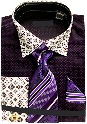 Two Tone Diamond Cufflinks - Sunrise Outlet Men's Two Tone Contrasting Diamond Pattern Dress Shirt with Tie Hanky and Cufflinks - Purple 16.5 3435