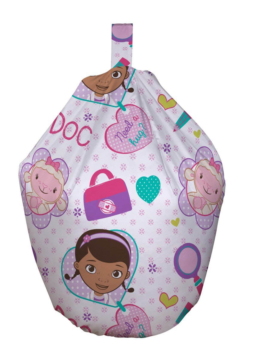 Character World Disney Doc McStuffins Hugs Kids Pink Purple Seat Beanbag Bean Bag With Filling