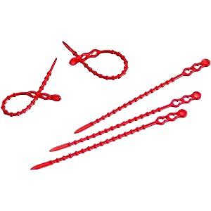 Kabelbinder Kugelbinder Blitzbinder rot mit Doppelkopf Auswahl Größe und Menge