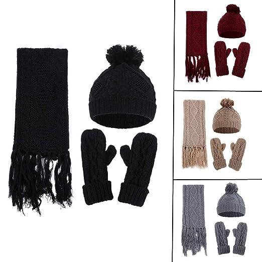 902a087a4e4 BSGSH Women's Winter Warm Pom Pom Beanie Hat, Scarf with Tassel ...