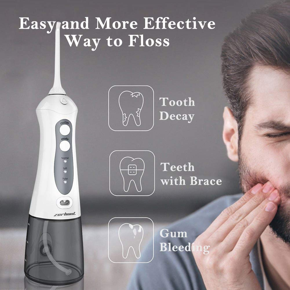 NEWEST 2019 Zerhunt Cordless Water Flosser Teeth Cleaner – High Plus Rechargable Portable Oral Irrigator For Travel, Braces Bridges Care IPX7 Waterproof With 6 Interchangeable Jet Tips