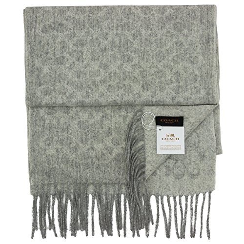 coach unisex cashmere wool blend C logo winter scarf (0130) light ()