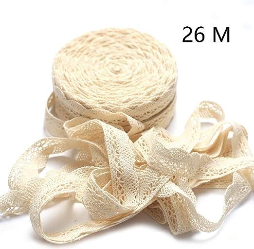 DAHI - Cinta de encaje decorativa blanca de 26 metros, de algodón, ribete de 2 cm de encaje vintage para manualidades, costura, boda, decoración, scrapbooking o cajas de regalo: Amazon.es: Juguetes y juegos